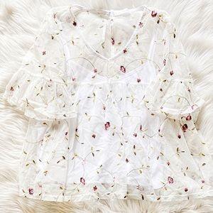 3/$20 Glance Sheer Blouse White Floral Large NWOT